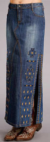 Stetson Denim Maxi Skirt - Blue - Ladies' Western Skirts And Dresses | Spur Western Wear