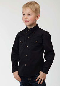 Roper Poplin Long Sleeve Western Shirt - Black - Boys' Western Shirts | Spur Western Wear