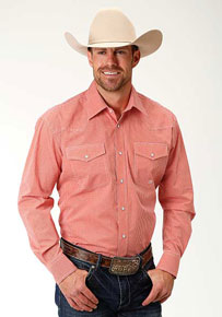 Roper Mini Check Long-Sleeve Snap Front Western Shirt - Orange - Men's Western Shirts | Spur Western Wear