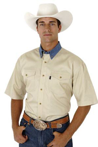Roper Contrast Collar Short Sleeve Western Shirt - Khaki - Men's Western Shirts | Spur Western Wear