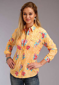 8ed1f631d8a5 Roper Floral Print Long Sleeve Snap Front Western Shirt - Yellow - Ladies' Western  Shirts