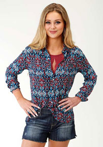 Roper Sunset Tapestry Long Sleeve Snap Front Western Shirt - Blue - Ladies' Western Shirts | Spur Western Wear