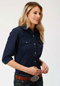 10c61421c014 Roper Broadcloth Long Sleeve Snap Front Western Shirt - Navy - Ladies' Western  Shirts