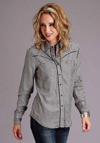 Stetson Gingham Check Long Sleeve Western Shirt - Black & White - Ladies' Western Shirts | Spur Western Wear