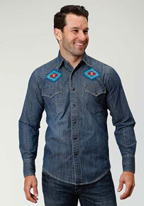 Roper Americana Denim Long Sleeve Snap Front Western Shirt - Blue - Men's Western Shirts | Spur Western Wear