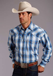 Stetson Crystal Ombre Plaid Long Sleeve Snap Front Western Shirt - Blue - Men's Western Shirts | Spur Western Wear