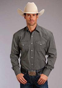 1e5472e849 Stetson 9 & 3 Long Sleeve Snap Front Western Shirt - Black - Men's Western  Shirts