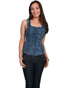 Scully Tank Top - Blue - Ladies' Western Shirts | Spur Western Wear