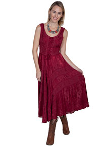 Scully Honey Creek Lace Front Dress - Burgundy - Ladies' Western Skirts And Dresses | Spur Western Wear