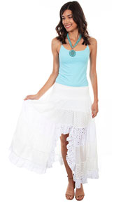Scully Cantina Lace Skirt - White - Ladies' Western Skirts And Dresses | Spur Western Wear
