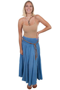 Scully Cantina Skirt - Light Blue - Ladies' Western Skirts And Dresses | Spur Western Wear