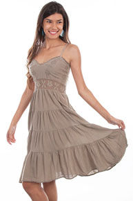 Scully Cantina Spaghetti Strap Dress - Khaki - Ladies' Western Skirts And Dresses | Spur Western Wear