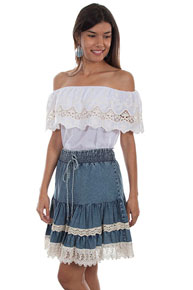 Scully Honey Creek Denim Skirt - Blue - Ladies' Western Skirts And Dresses | Spur Western Wear