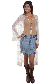 Scully Honey Creek Embroidered Denim Skirt - Blue - Ladies' Western Skirts And Dresses | Spur Western Wear