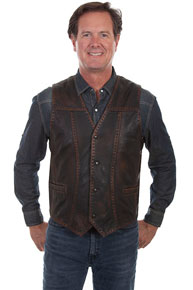 Scully Buck Stitch Western Vest - Dark Brown - Men's Leather Western Vests and Jackets | Spur Western Wear
