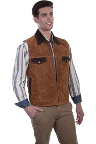 Scully Concealed Carry Suede Leather Western Vest - Cafe Brown - Men's Leather Western Vests and Jackets | Spur Western Wear