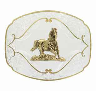 Montana Silversmiths® Gold Flourish Western Belt Buckle With Galloping Horse - Western Belt Buckles | Spur Western Wear