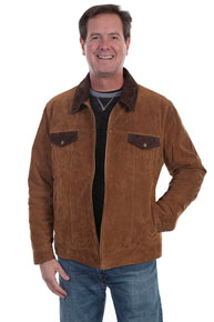 Scully Concealed Carry Suede Leather Western Jacket - Cafe Brown - Men's Leather Western Vests and Jackets | Spur Western Wear