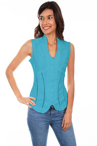 Scully Sleeveless Blouse - Blue - Ladies' Western Shirts | Spur Western Wear