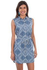 Scully Honey Creek Handkerchief Dress - Blue - Ladies' Western Skirts And Dresses | Spur Western Wear