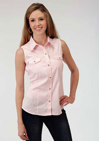 Roper Poplin Sleeveless Snap Front Western Shirt - Pink - Ladies' Western Shirts | Spur Western Wear