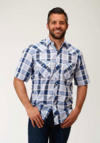 Roper Windowpane Plaid Short Sleeve Western Shirt - Blue And White - Men's Western Shirts | Spur Western Wear