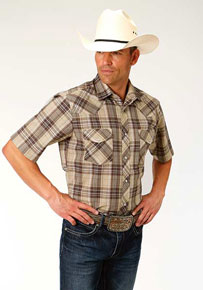 Roper Plaid Short Sleeve Western Shirt - Brown and Tan - Men's Western Shirts | Spur Western Wear