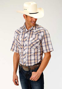 Roper Plaid Short Sleeve Western Shirt - Blue, Tan And White - Men's Western Shirts | Spur Western Wear