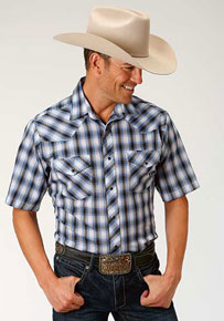 Roper Plaid Short Sleeve Western Shirt - Cobalt, Black And White - Men's Western Shirts | Spur Western Wear
