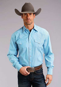 Stetson Striped Long Sleeve Snap Front Western Shirt - Turquoise - Men's Western Shirts | Spur Western Wear