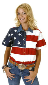 Roper American Flag Short Sleeve Button Front Western Shirt - Ladies' Western Shirts | Spur Western Wear
