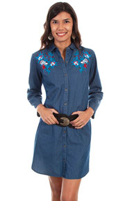 Scully Honey Creek Denim Shirt Dress - Blue - Ladies' Western Skirts And Dresses | Spur Western Wear