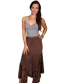 Scully Honey Creek Multi-Fabric Skirt - Copper - Ladies' Western Skirts And Dresses | Spur Western Wear