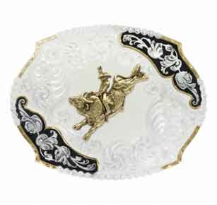 Montana Silversmiths® Antique Leaves Western Belt Buckle With Bull Rider - Western Belt Buckles | Spur Western Wear