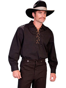 Scully Men's Lace-up Old West Shirt - Black - Men's Old West Shirts | Spur Western Wear