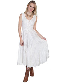 Scully Honey Creek Lace Front Dress - Ivory - Ladies' Western Skirts And Dresses | Spur Western Wear