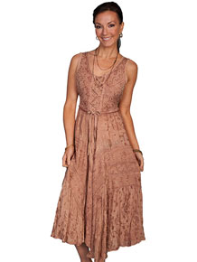 Scully Honey Creek Lace Front Dress - Beige - Ladies' Western Skirts And Dresses | Spur Western Wear