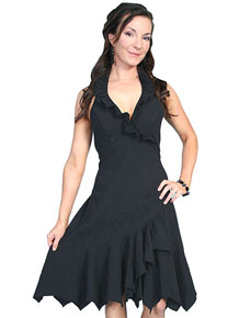Scully Cantina Ruffled Halter Dress - Black - Ladies' Western Skirts And Dresses | Spur Western Wear