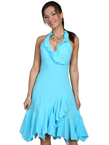 Scully Cantina Ruffled Halter Dress - Turquoise - Ladies' Western Skirts And Dresses | Spur Western Wear