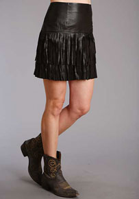 Stetson Lamb Leather Fringe Skirt - Black - Ladies' Western Skirts And Dresses | Spur Western Wear