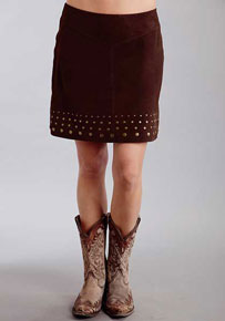 Stetson Lamb Suede Leather Skirt - Dark Brown - Ladies' Western Skirts And Dresses | Spur Western Wear