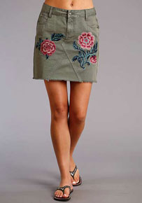 Stetson Embroidered Twill Skirt - Olive - Ladies' Western Skirts And Dresses | Spur Western Wear