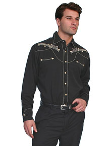 Scully Music Notes Embroidered Western Shirt - Black - Men's Retro Western Shirts | Spur Western Wear