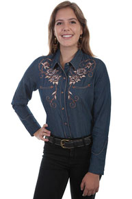 Scully Roses And Longhorn Skull Embroidered Western Shirt - Denim - Ladies' Retro Western Shirts | Spur Western Wear