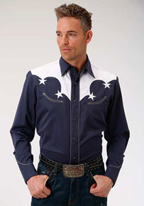 Roper Americana Stars Long Sleeve Snap Front Western Shirt - Navy - Men's Western Shirts | Spur Western Wear