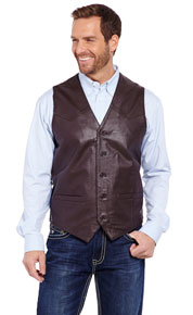 Cripple Creek Lamb Leather Western Vest - Chocolate - Men's Leather Western Vests and Jackets | Spur Western Wear