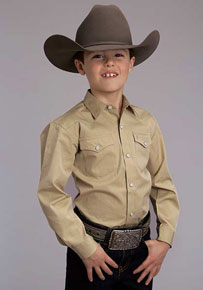 Stetson End On End Solid Long Sleeve Western Shirt - Gold - Boys' Western Shirts | Spur Western Wear