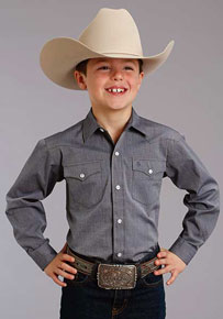 Stetson End On End Solid Long Sleeve Western Shirt - Navy - Boys' Western Shirts | Spur Western Wear