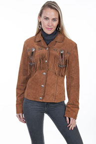 Scully Bead & Fringe Leather Western Jacket - Cinnamon - Ladies Leather Jackets | Spur Western Wear
