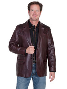 Scully Leather Western Blazer with Ostrich Trim - Black Cherry - Men's Leather Western Vests and Jackets | Spur Western Wear